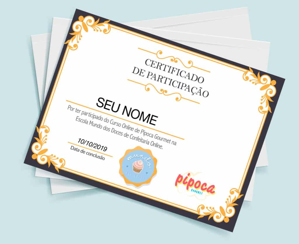 certificado curso pipoca gourmet